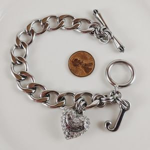 Juicy Couture Heart Rhinest Charm Toggle Bracelet